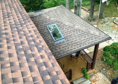 Skylights on a covered patio addition in Westlake, Ohio