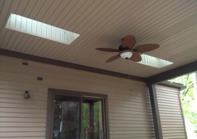 The ceiling of a covered patio addition in Westlake, Ohio