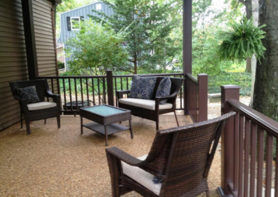 A covered patio addition in Westlake, Ohio