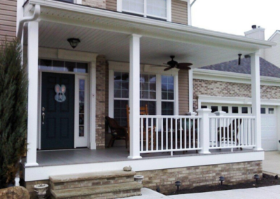 A close view of a front porch addition near Cleveland