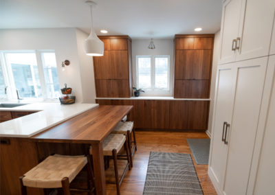 View of the seating area and storage area in a kitchen