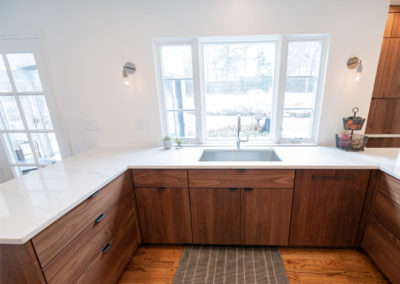 View of the sink in an open concept kitchen in Shaker Heights