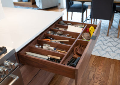 Another view of a drawer and organization in a kitchen