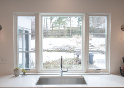 View over the sink and through the kitchen window