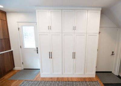 View of a entry way and storage in a Shaker Heights remodeling project